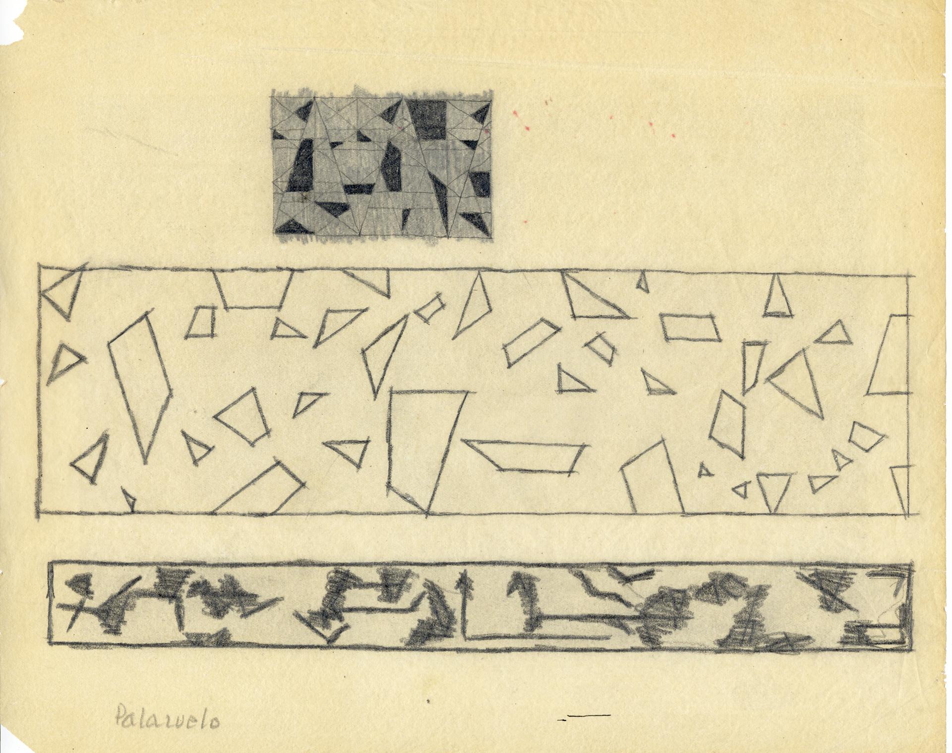 """Dibujo """"Sin título"""" de Pablo Palazuelo. Lápiz sobre papel. c.1950"""
