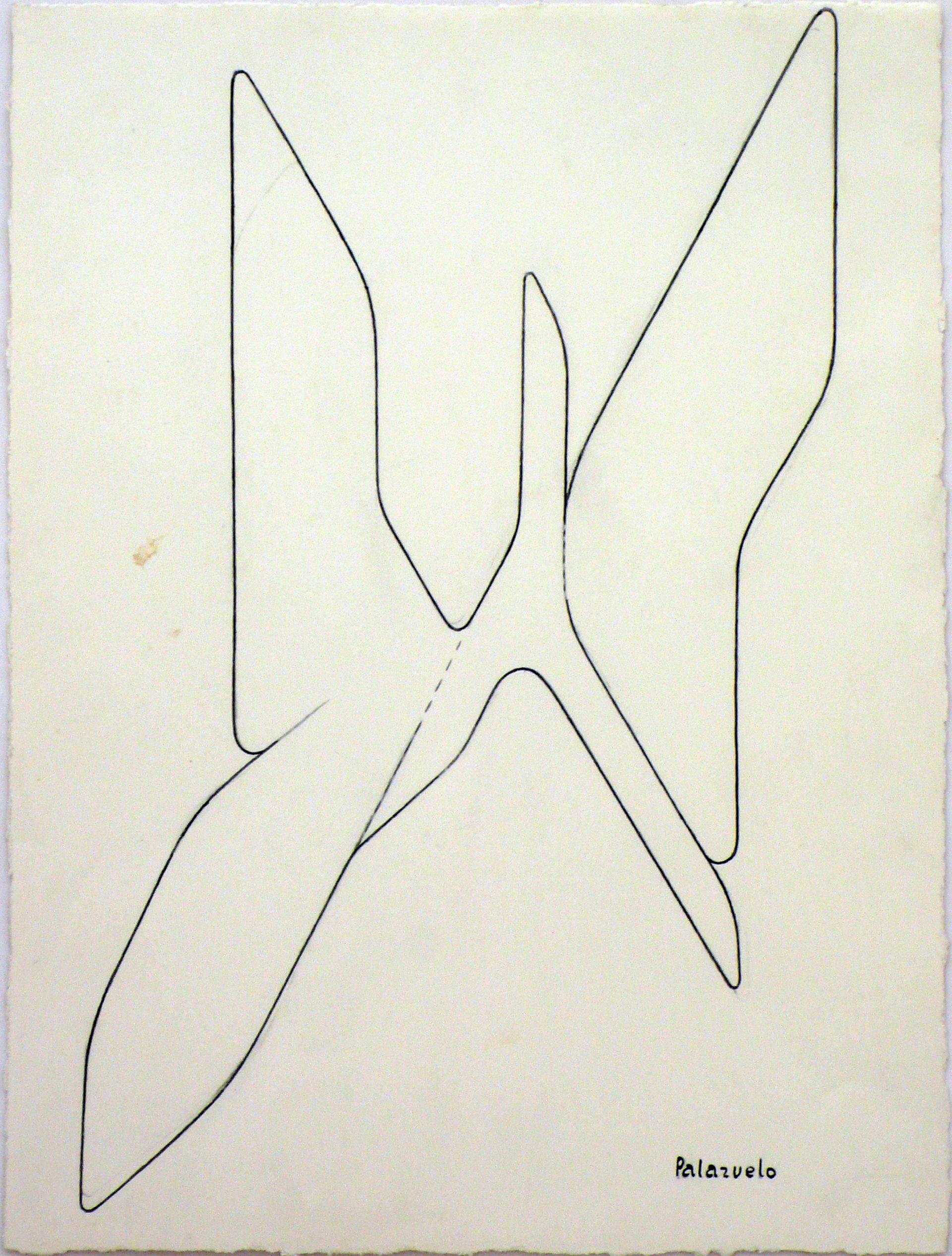 """Dibujo """"Boceto para la escultura Elán formé"""" de Pablo Palazuelo. Lápiz sobre pap"""