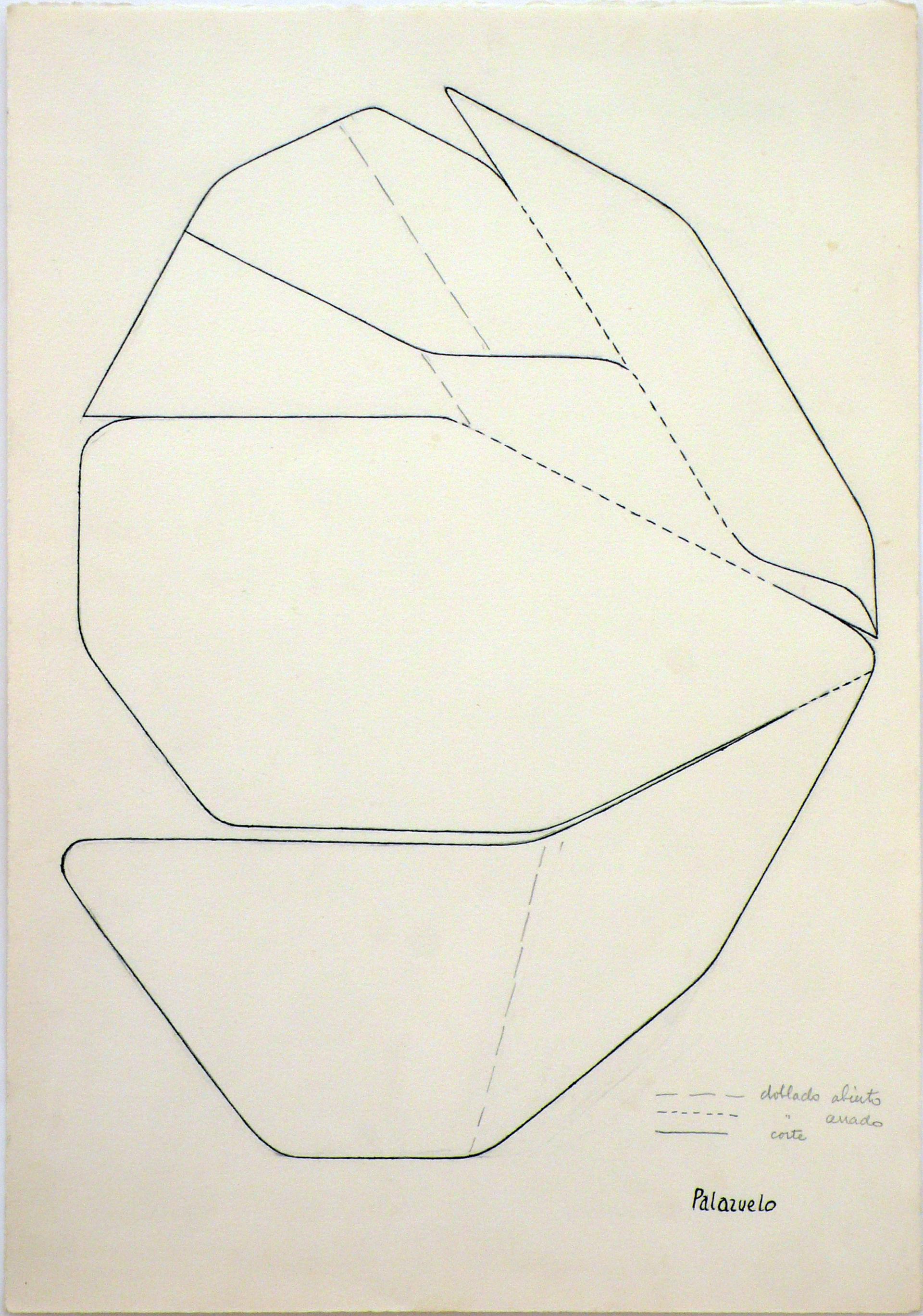 "Dibujo ""Boceto para la escultura Fleurir"" de Pablo Palazuelo. Lápiz sobre papel. 1967-1977"