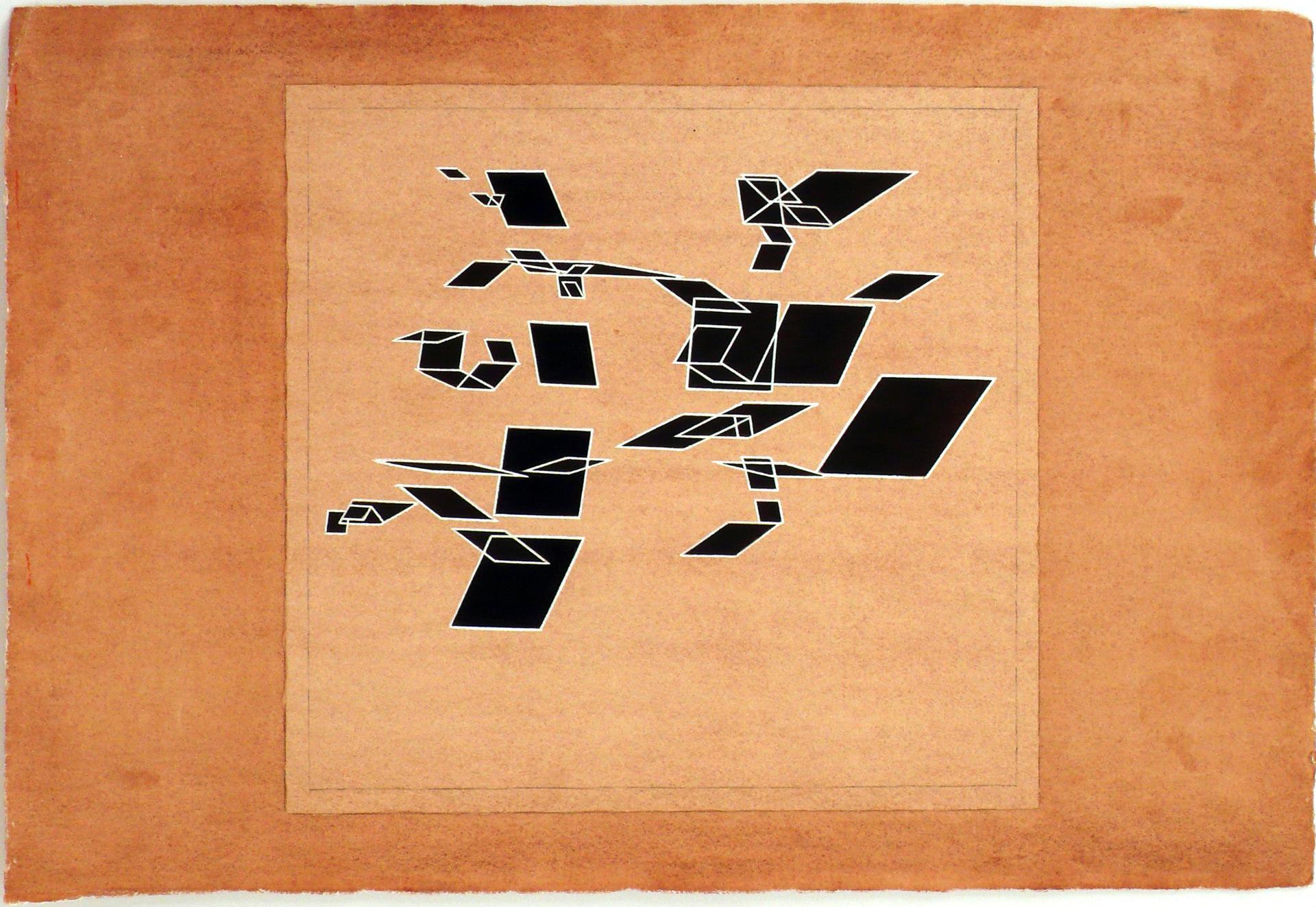 """Dibujo """"Boceto para el disco El número y las aguas"""" de Pablo Palazuelo. Lápiz y Gouache sobre papel. c.1986"""