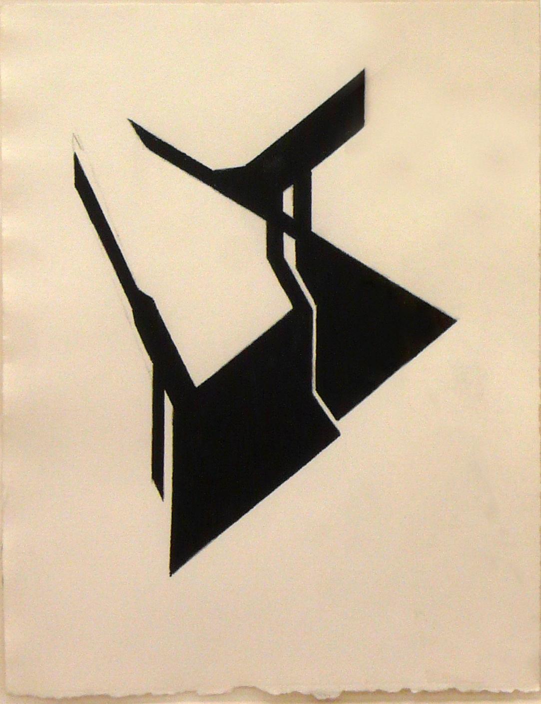 "Dibujo ""Angular III"" de Pablo Palazuelo. Gouache sobre Papel. 2002"