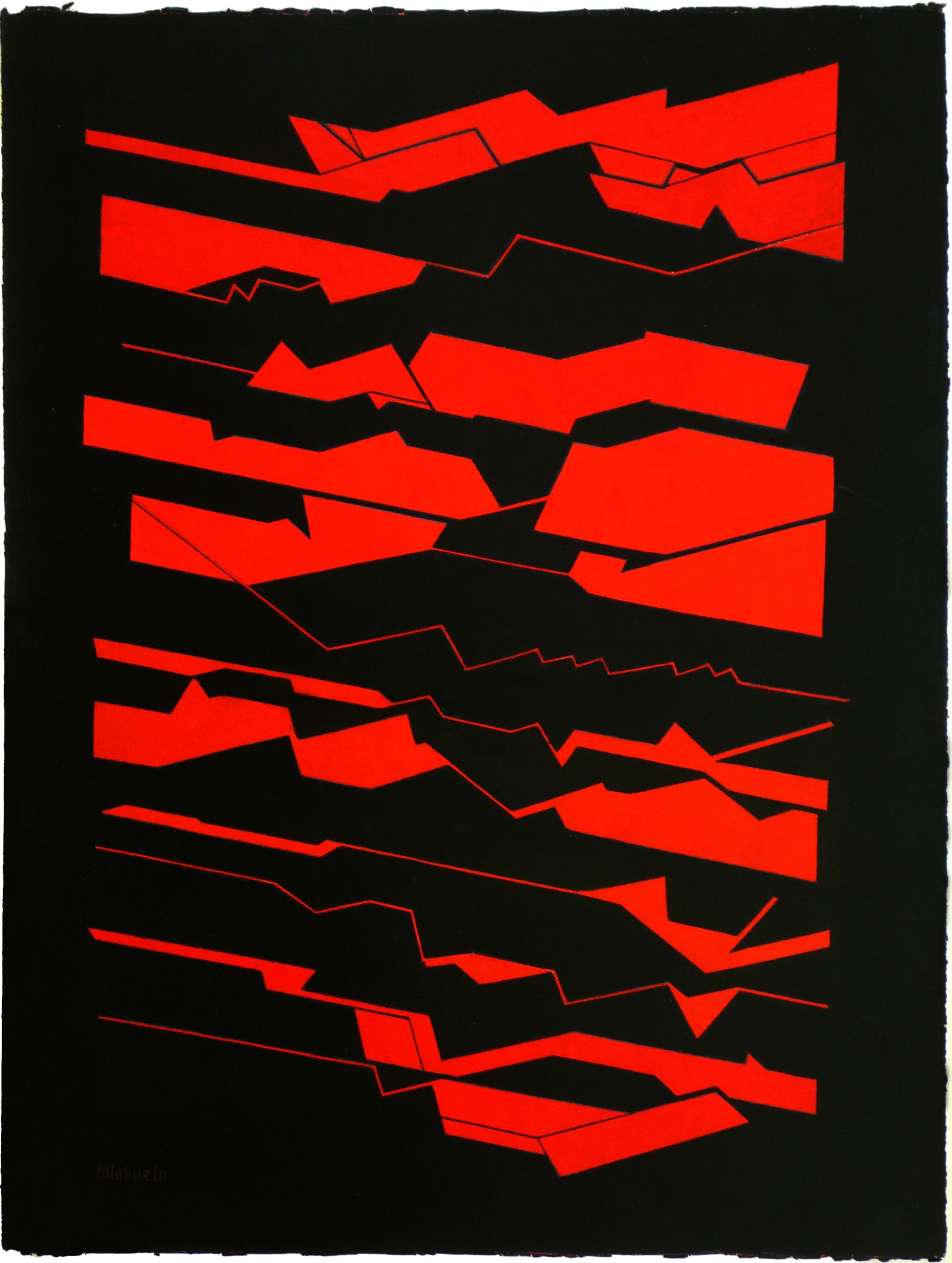 "Dibujo ""Transverse nº12"" de Pablo Palazuelo. Gouache sobre Papel. c.1995."