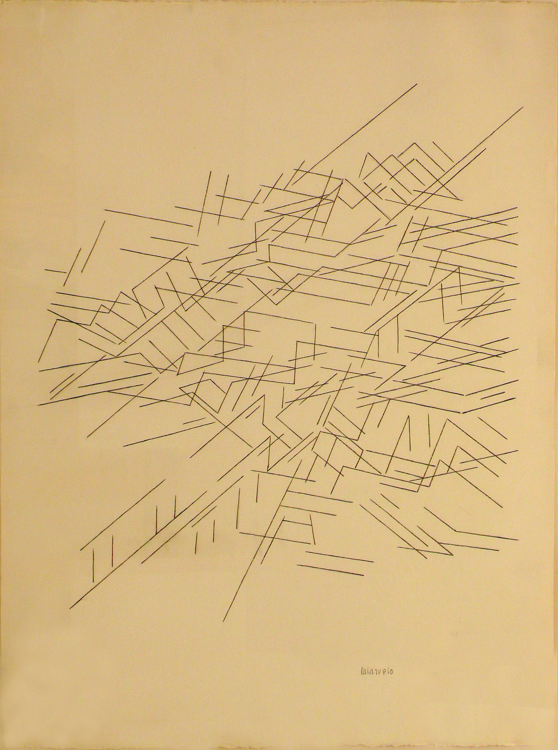 "Dibujo ""Traverse 0"" de Pablo Palazuelo. Lápiz sobre papel. 1995"