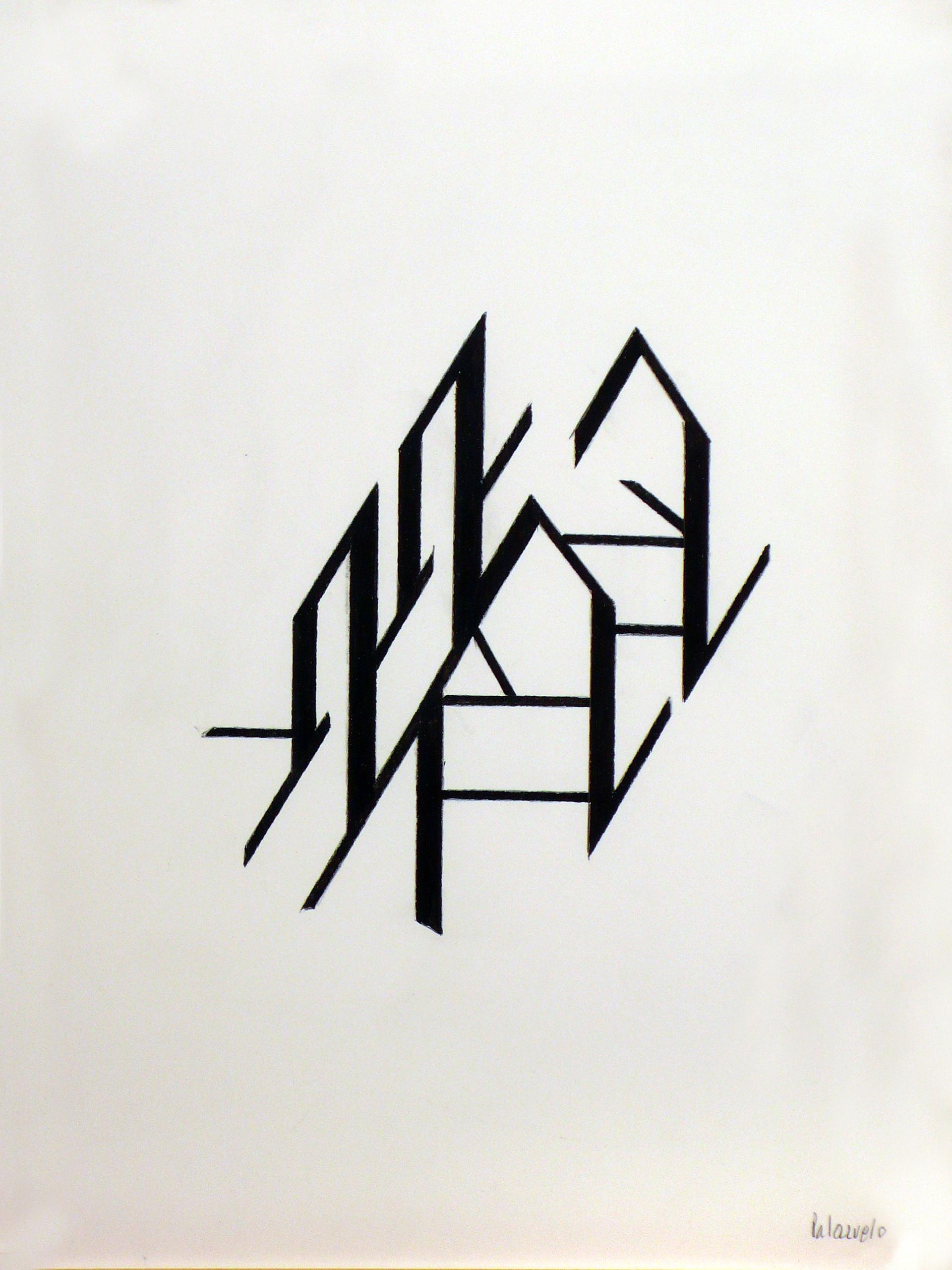 """Dibujo """"Signos I"""" de Pablo Palazuelo. Lapiz sobre papel. 1998"""