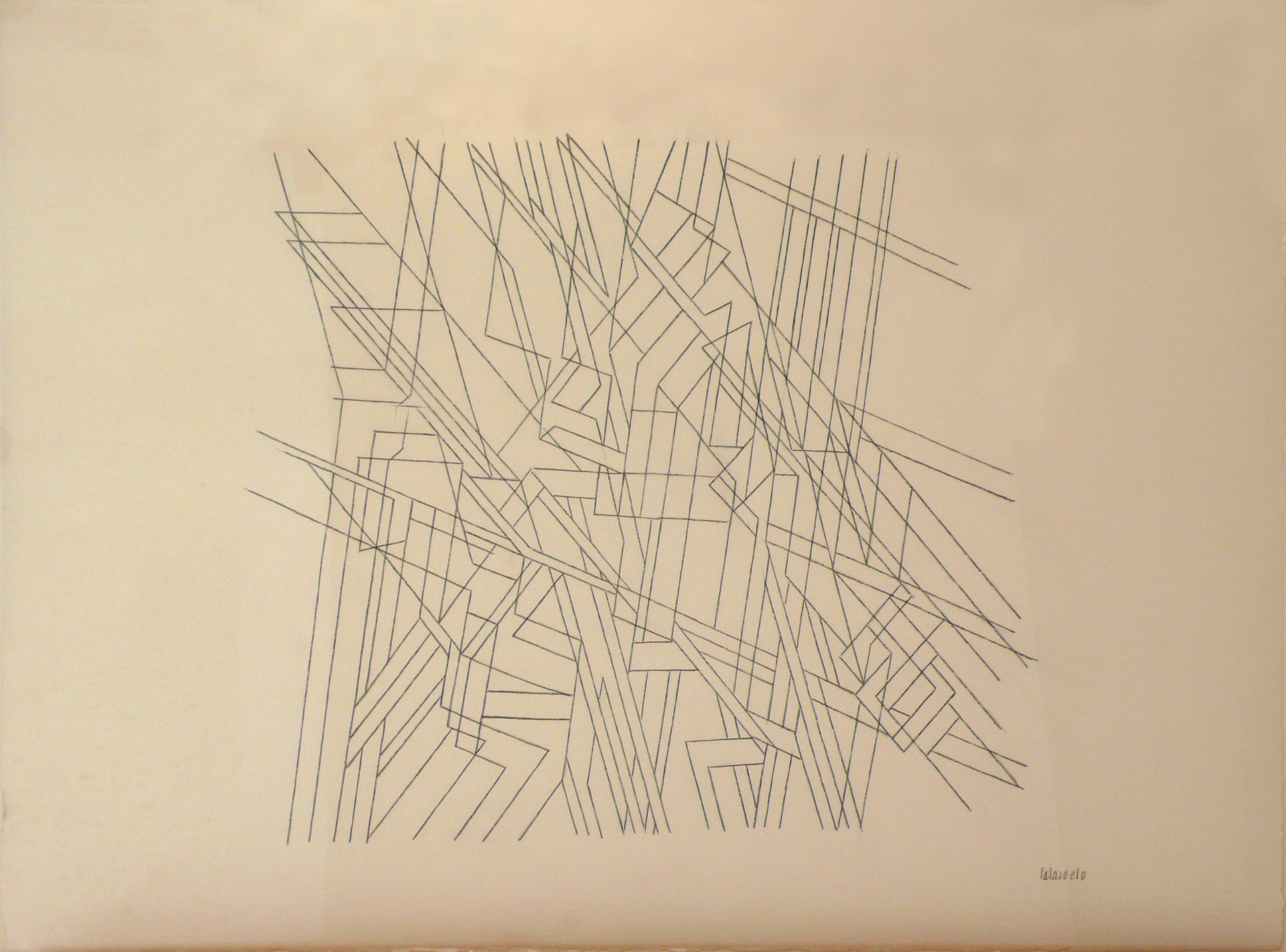 "Dibujo ""Traverse 00"" de Pablo Palazuelo. Lapiz sobre papel. 1997"